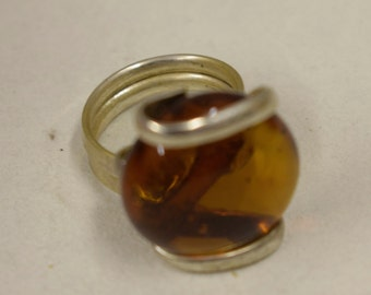 Ring Silver Amber Colored Glass Handmade Glass Silver Jewelry Ring Fun Amber  Color Glass Unique