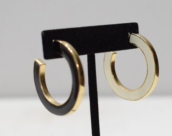 Earrings Gold Black White Hoop Earrings