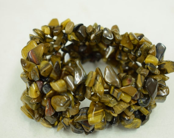 Bracelet Brown Tiger Eye Cluster Chip Beads Handmade Bracelet