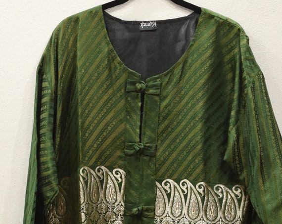 Jacket Silk Green Gold Brocade Jacket