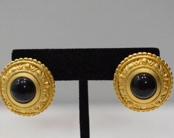 Earrings Matte Gold Black Glass Earrings