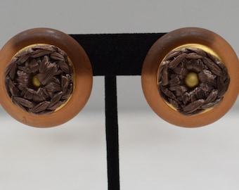 Earrings Lucite Sisal Clip Earrings