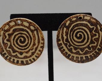 Earrings Etched Coconut Clip Earrings