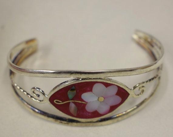 Bracelet Silver Wrist Cuff Shell Mother Pearl Flowers Vintage Red Enamel Bracelet Handmade Silver Red Enamel Shell Cuff Bracelet