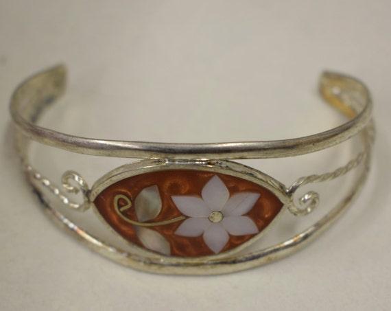 Bracelet Silver Wrist Cuff Shell Mother Pearl Flowers Orange Enamel Bracelet