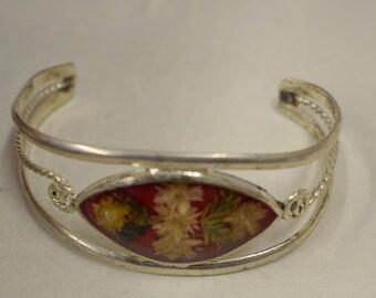 Bracelet Silver Wrist Cuff Assorted Dried Flowers Leaves Vintage Bracelet Handmade Silver Yellow Dried Flowers Cuff Bracelet