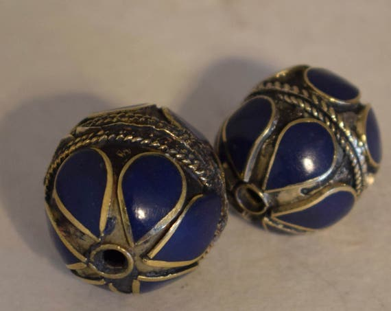 Beads Middle Eastern Blue Lapis Brass Round Beads Handmade Handcrafted 2 Lot Lapis Beads Brass Crafts Jewelry Beads