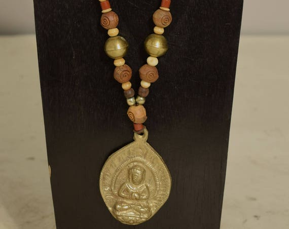 Necklace India Brass Buddha Pendant Olive Wood African Glass Bone Cord Beaded Handmade Necklace Buddha Jewelry
