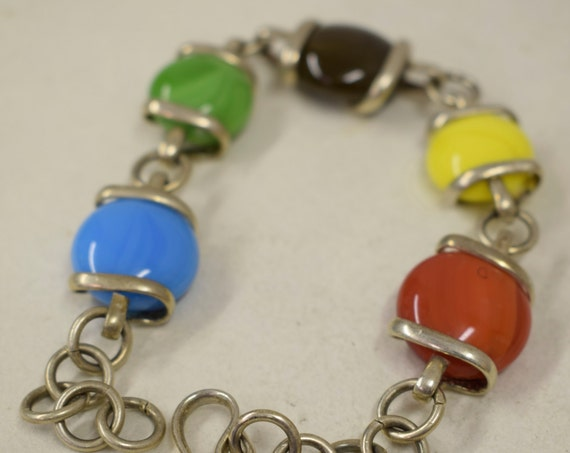 Bracelet Silver Red Blue Yellow Green Glass Adjustable Handmade Blue Glass Silver Jewelry Bracelet Fun Colorful Unique