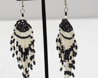 Earrings Black and White Fan Beaded Earrings