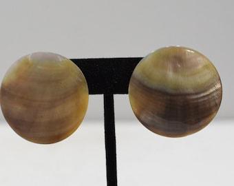 Earrings Mother of Pearl Shell Button Earrings