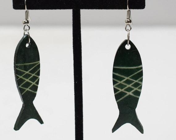 Earrings Green Bone Fish Earrings