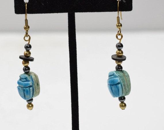 Earrings Blue Scarab Dangle Earrings