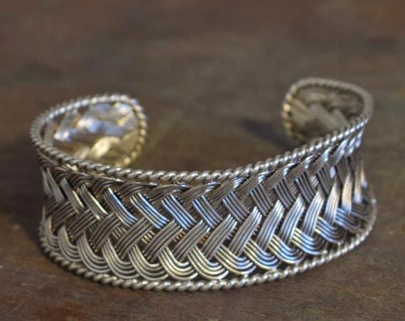 Bracelet Silver Woven Double Weave Herringbone Cuff Bracelet Miao/Hmong Hill Tribe Handmade Adjustable Hill Tribe Silver Bracelet Cuff