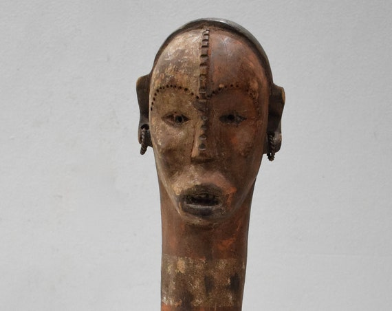 African Statue Mbaka Tribe Abstarct Carved Wood Mbaka Tribe African Statue