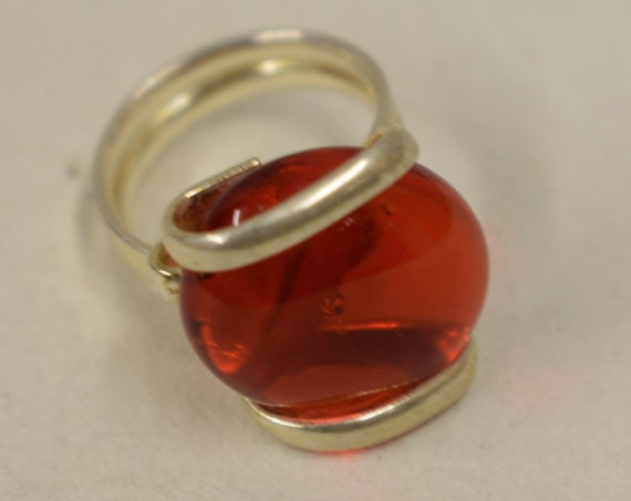 Ring Silver Cherry Red Colored Glass Handmade Glass Silver Jewelry Ring Fun Cherry Red Color Glass Unique