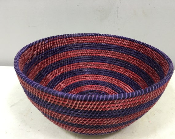 Basket African Lesotho Red Purple Woven South Africa Handmade Hand Woven Coiled Woman Unique SM16