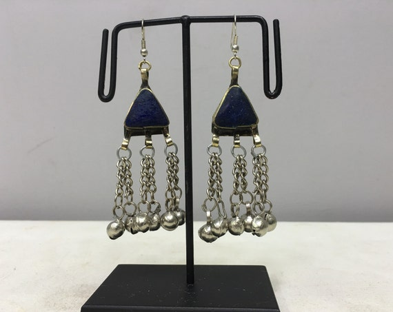 Earrings Silver Middle East Lapis Triangle Dangle Silver Bells Handmade Silver Lapis Earrings Belly Dance Lapis Bells Dangle Unique E173