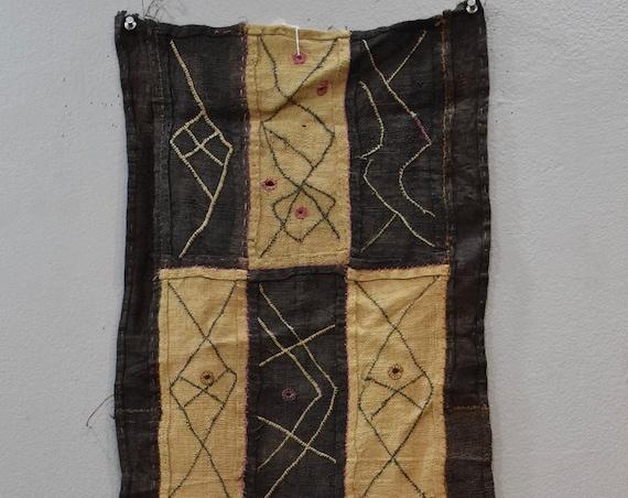 African Kuba  Natural Woven Raffia Congo Handmade Fabric Kuba Cloth