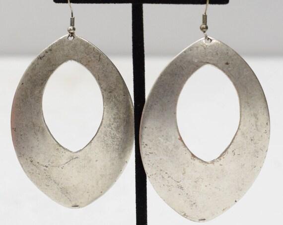 Earrings Turkish Pewter Large Oval Dangle Earrings