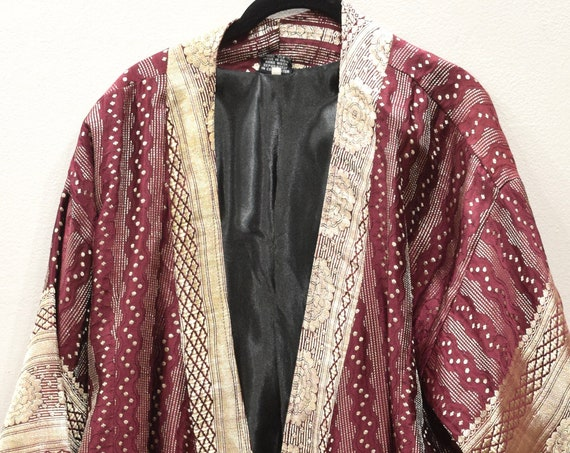 Jacket Silk Burgundy Brocade Jacket