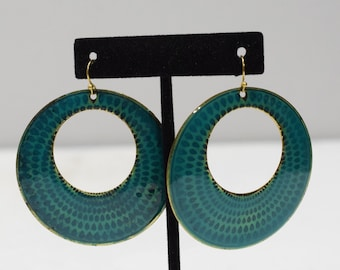 Earrings Turquoise Round Brass Earrings