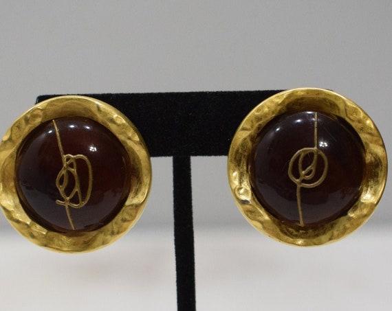 Earrings Matte Gold Lucite Clip Earrings