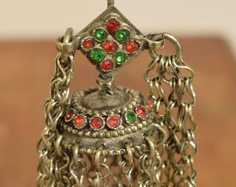 "Earring Silver Dangle Kuchi Silver Single Red Glass Tribal Jewelry Middle Eastern Kuchi  5"""