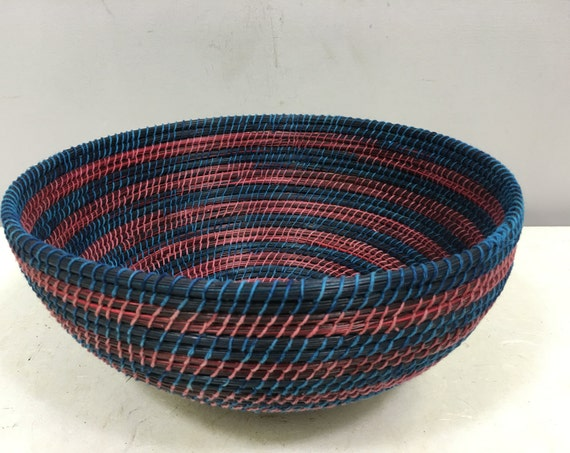 Basket African Lesotho Teal Blue Red Woven South Africa Handmade Hand Woven Coiled Woman Unique SM21