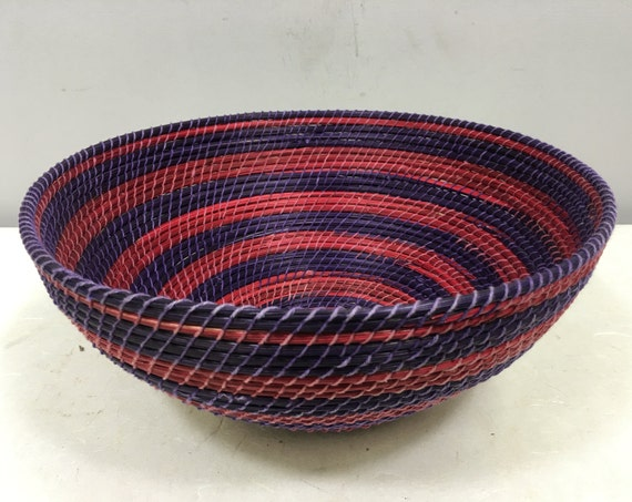 Basket African Lesotho Purple Red Woven South Africa Handmade Hand Woven Coiled Woman Unique SM35