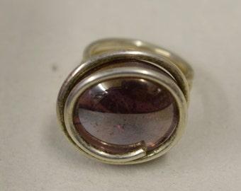 Ring Silver Purple Luster Colored Glass Handmade Glass Silver Jewelry Ring Fun Purple Luster Color Glass Unique