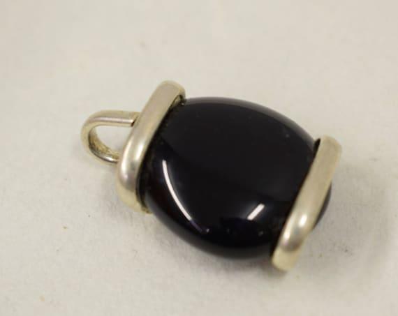 Pendant Silver Black Colored Glass Handmade Glass Silver Jewelry Necklace Bracelet Fun Black Color Glass Unique