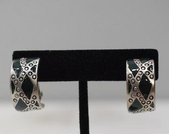 Earrings Etched Silver Black Clip Earrings