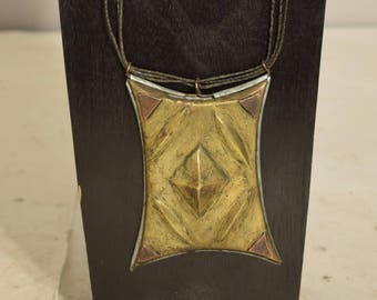 Necklace Africa Tuareg Talisman (Tcherot ) Brass Box Pendant Handmade Tribal Jewelry Necklace