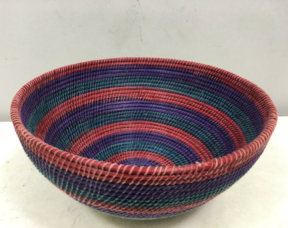 Basket African Lesotho Teal Blue Purple Red Woven South Africa Handmade Hand Woven Coiled Woman Unique SM26