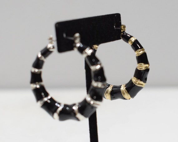 Earrings Mixed Pair Gold and Silver Black Hoop Earrings
