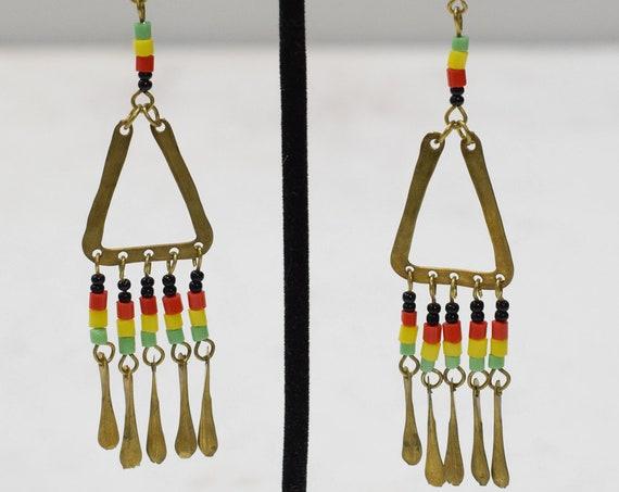 Earrings African Brass Triangle Earrings