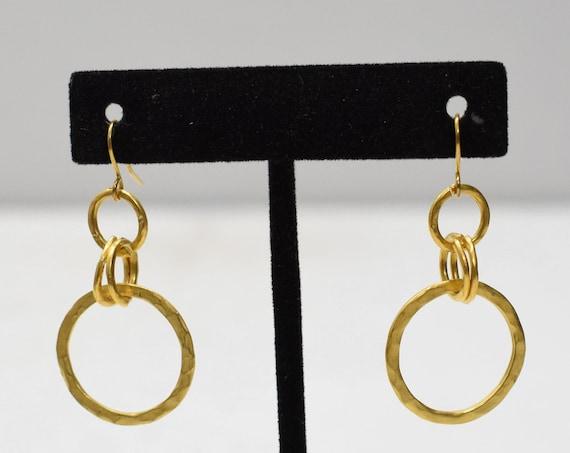 Earrings Matte Gold Hoop Dangle Earrings