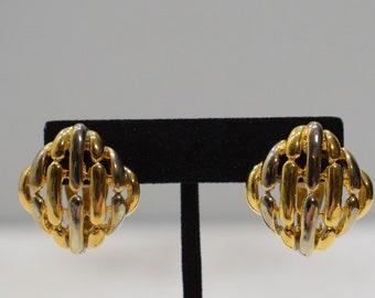 Earrings Gold Silver Lattice Clip Earrings