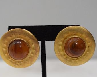 Earrings  Matte Gold Round Clip Earrings
