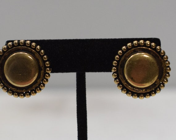 Earrings Gold Button Clip Earrings