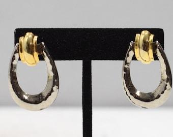 Earrings Gold  Silver Oval Hoop Post Earrings