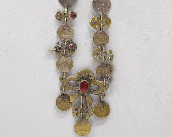 """Necklace Middle Eastern Silver Kuchi Coin  Red Glass 34"""""""