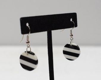 Earrings Black Stripe Lucite Earrings