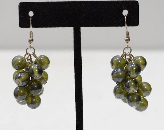 Earrings Olive Green Glass Drop Earrings