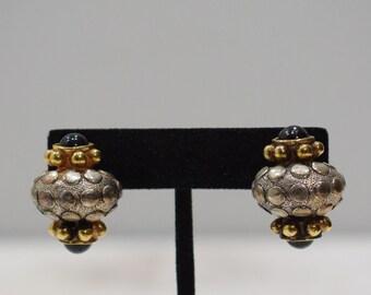 Earrings Ornate Gold Silver Glass Clip Earrings