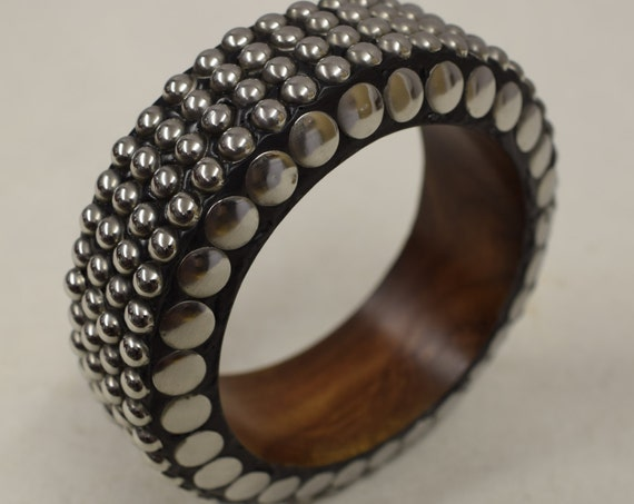Bracelet Bangle Wood Silver Beads Discs Handmade Jewelry Bangle Wood Silver Fun Bracelets Unique