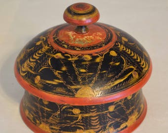 Spice Box Middle Eastern Rosewood Painted Lacquered Handmade Orange Black Round Household Rosewood Spice Box