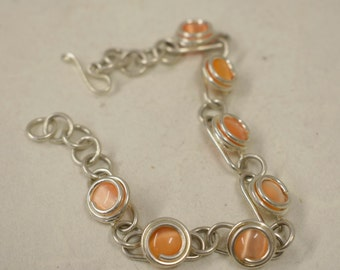 Bracelet Silver Peach Colored Glass Adjustable Handmade Glass Silver Jewelry Bracelet Fun Peach Color  Glass Unique