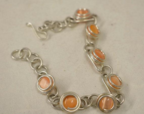 Bracelet Silver Peach Colored Glass Adjustable Handmade Glass Silver Jewelry Bracelet Fun Peach Color  Glass Unique